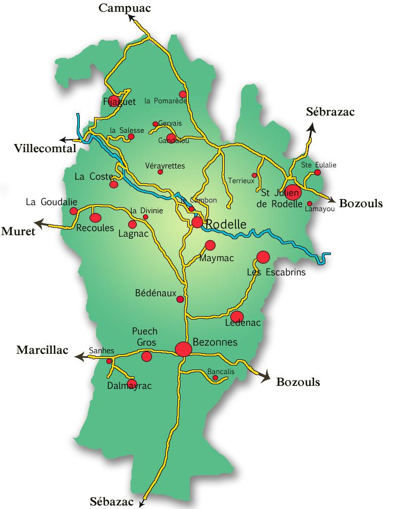 Plan de la commune de Rodelle